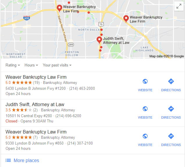 bankruptcy law local 3 pack google near me search