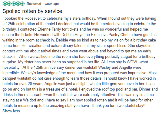 spoiled rotten by service trip advisor review