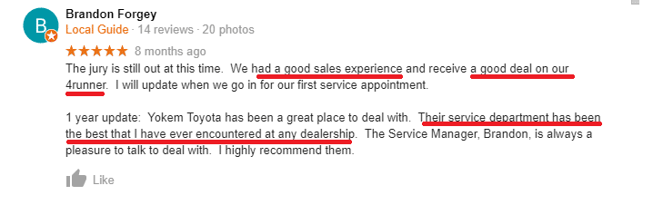 Local Guide Google My Business review for a car dealership