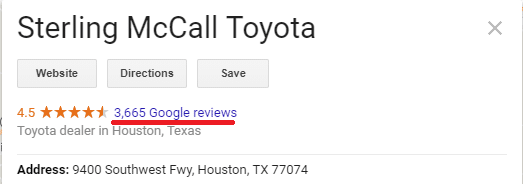 auto dealership listing with thousands of google my business reviews