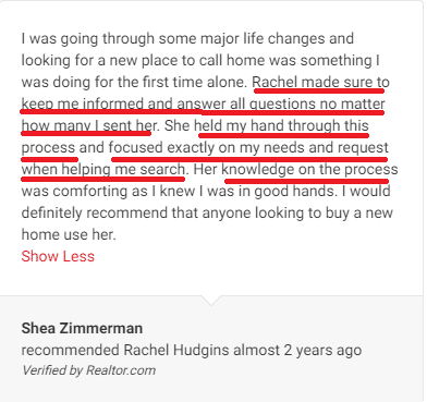 perfect buyer's review from Realtor.com