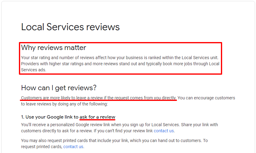 local service reviews definition from Google