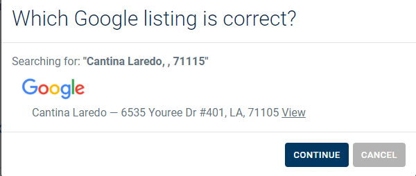 Correct Google My Business listing