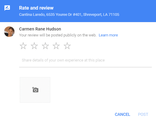 empty Google review box