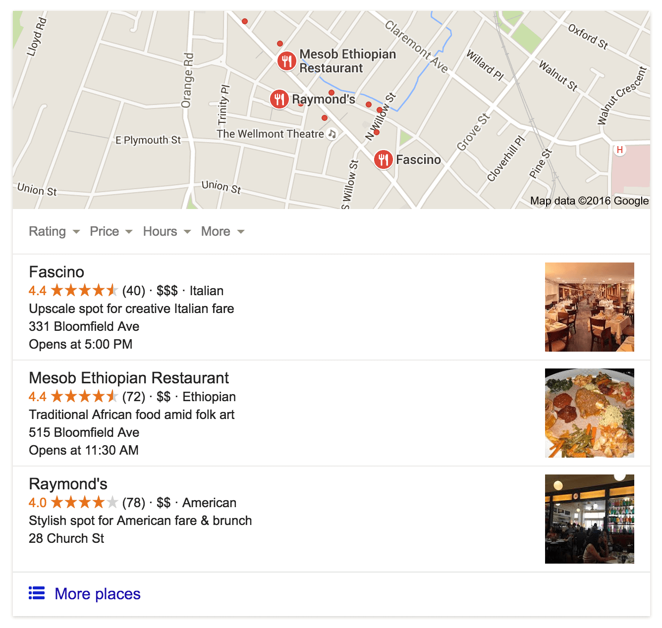 Google local pack - reviews for restaurants near me