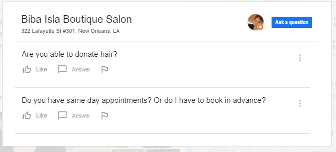 biba isla boutique salon google question examples