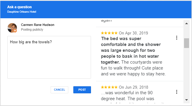 dauphine orleans hotel google auto-suggested answers great reviews