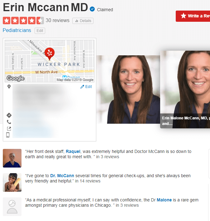 Example of Yelp reviews for pediatrician Dr. McCann