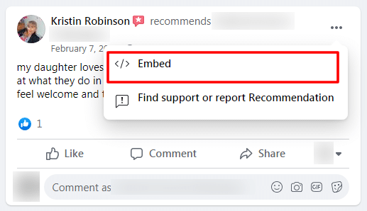 embed facebook recommendation
