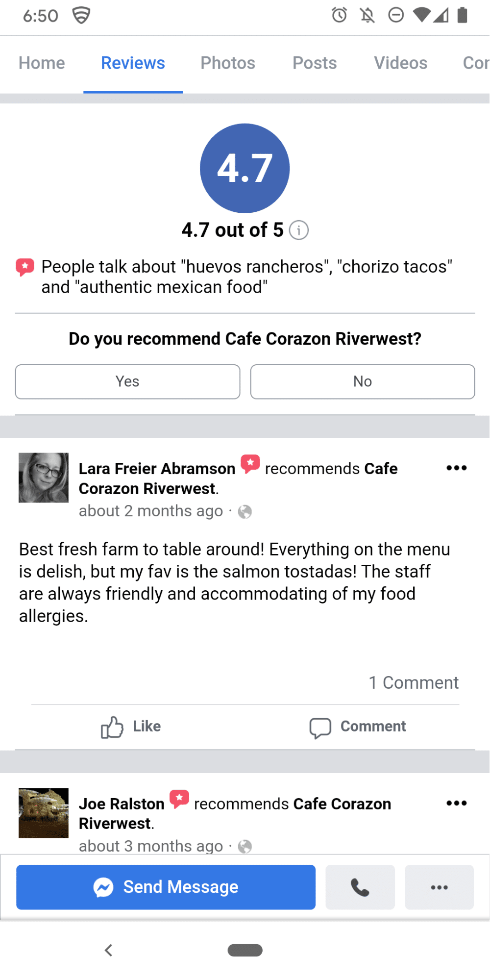 Facebook recommendations mobile