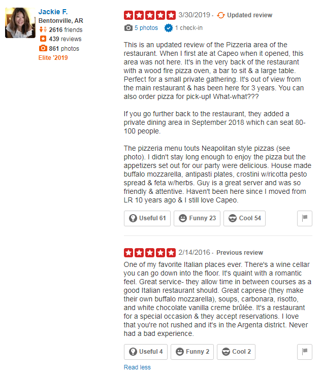5 star updated yelp review example