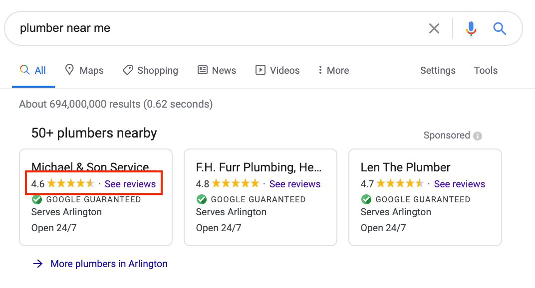 local service ad reviews