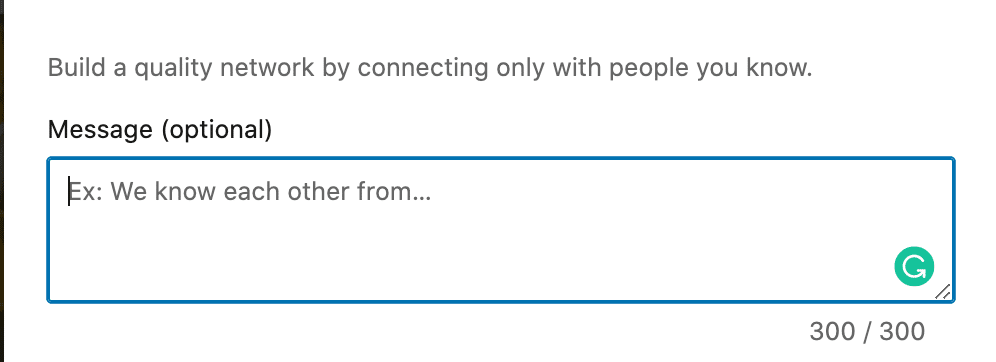 linkedin connect-message character count