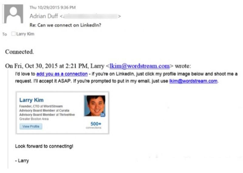 linkedin connection request email example